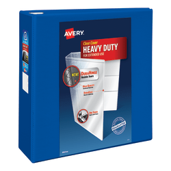 "Avery® Heavy-Duty View 3-Ring Binder With Locking One-Touch EZD™ Rings, 4"" D-Rings, 43% Recycled, Pacific Blue"