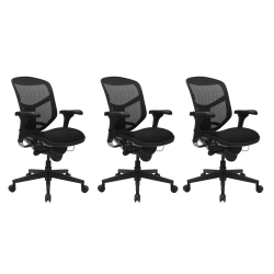 WorkPro® Quantum 9000 Series Ergonomic Mesh/Fabric Mid-Back Desk Chair, Black, Set Of 3 Chairs