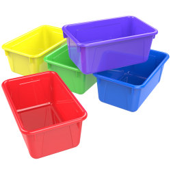 """Storex Small Cubby Bins, 12-1/8"""" x 7-7/8"""" x 5-3/16"""", Assorted Colors, Pack Of 5 Bins"""