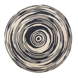 """Anji Mountain Hurricane Round Area Rug, 48"""", Black/Tan"""