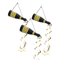 """Amscan New Year's Bottle Hanging Decorations, 25-1/2"""" x 12-1/4"""", Black, 3 Decorations Per Pack, Case Of 2 Packs"""