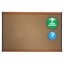 "Quartet® Prestige Cork Bulletin Board, 72"" x 48"", Natural Brown, Cherry Wood Frame"