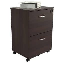 "Inval 15-3/4""D Vertical 2-Drawer Mobile File Cabinet, Espresso Wengue"