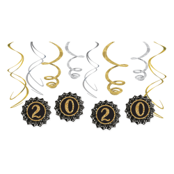 """Amscan New Year's 2020 Fan And Swirl Decorating Kits, 8"""", Black, 1 Kit Per Pack, Case Of 2 Packs"""