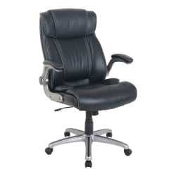 Lorell® SOHO Flip Armrest Bonded Leather High-Back Chair, Black/Silver