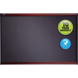 "Quartet® Prestige™ Gray Diamond Mesh Fabric Non-Magnetic Bulletin Board, 48"" x 72"", Wood Frame With Mahogany Finish"