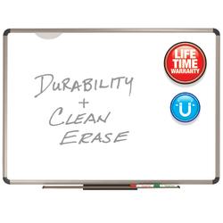 """Quartet® Prestige Plus® Premium Porcelain Magnetic Dry-Erase Board, 36"""" x 48"""", Titanium Frame"""