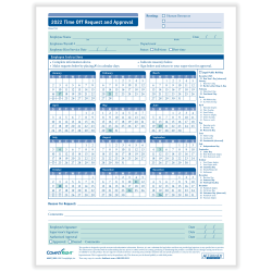"""ComplyRight™ 2021 Time Off Request And Approval Calendars, 8 1/2"""" x 11"""", Pack Of 50"""