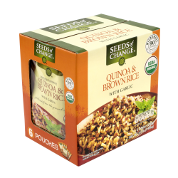 Seeds Of Change Brown Rice, With Quinoa And Garlic, 8.5 Oz, Pack Of 6 Pouches
