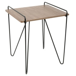 Lumisource Loft Mid-Century Modern End Table, Square, Walnut/Black