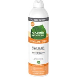Seventh Generation Disinfectant Cleaner - Spray - 13.9 fl oz (0.4 quart) - Fresh Citrus & Thyme Scent - 8 / Carton - Clear