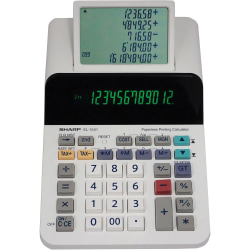 "Sharp EL-1501 12-digit Printing Calculator - LCD Display, Compact, 4-Key Memory, Paperless Printing, Cordless - 12 Digits - LCD - Battery Powered - 4 - AA - 2"" x 5.8"" x 8.5"" - White - Desktop - 1 Each"