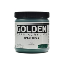 Golden OPEN Acrylic Paint, 8 Oz Jar, Cobalt Green
