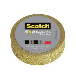 """Scotch® Expressions Glitter Tape, 0.59"""" x 196"""", Gold"""