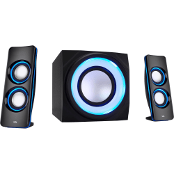 Cyber Acoustics Curve CA-3712BT 2.1 Bluetooth Speaker System - Black - Bluetooth - Passive Radiator, Remote Control