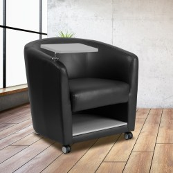 Flash Furniture Bonded LeatherSoft™ Tablet-Arm Barrel-Back Chrome-Legged Guest Chair, Black/Gray