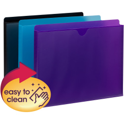 "Smead Straight Tab Cut Letter File Jacket - 8 1/2"" x 11"" - 1"" Expansion - Poly - Purple, Teal, Black - 6 / Pack"