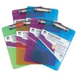 """Charles Leonard Transparent Plastic Clipboards, 9"""" x 12 1/2"""", Assorted Colors, Pack Of 6"""