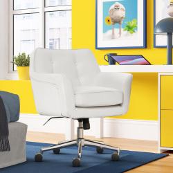 Serta® Ashland Home Bonded Leather Mid-Back Office Chair, White/Chrome