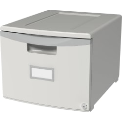 """Storex 18"""" Stackable File Drawer - 1 Drawer(s) - 12.8"""" Height x 14.8"""" Width18.3"""" Length - Gray - Polypropylene - 1Each"""