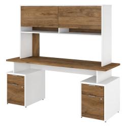 "Bush Business Furniture Jamestown Desk With 4 Drawers And Hutch, 72""W, Fresh Walnut/White, Premium Installation"