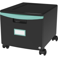 "Storex 18"" Stackable File Drawer - 1 Drawer(s) - 12.8"" Height x 14.8"" Width18.3"" Length - Black, Teal - Polypropylene - 1Each"