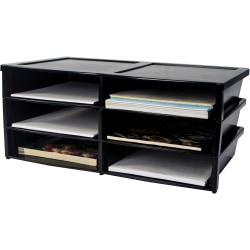 "Storex Quick Stack 6-sorter Organizer - 500 x Sheet - 6 Compartment(s) - Compartment Size 8.75"" x 11.50"" x 2"" - 8.7"" Height x 13.6"" Width20.5"" Length - Black - Plastic - 1 Each"