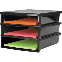 """Storex Quick Stack Construction Paper Sorter - 500 x Sheet - 3 Compartment(s) - 8.4"""" Height x 11.3"""" Width13"""" Length - Black - Plastic - 1Each"""