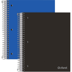 """Oxford 3-Subject Poly Notebook - 3 Subject(s) - 150 Sheets - Wire Bound - Wide Ruled Red Margin - 3 Hole(s) - 0.50"""" x 8.5""""10.5"""" - Assorted Cover - Snag Resistant, Sturdy, Micro Perforated, Moisture Resistant, Smooth, Resist Bleed-through - 2 / Pack"""