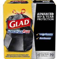 Glad ForceFlexPlus Drawstring Large Trash Bags - 30 gal - 1.05 mil (27 Micron) Thickness - Black - 4900/Bundle - 70 Per Box - Kitchen, Outdoor, Commercial, Office