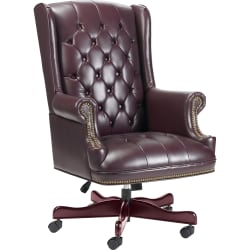 Lorell® Berkeley Traditional Tufted High-Back Chair, Burgundy/Mahogany