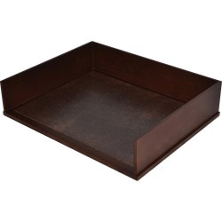 """Victor Heritage Wood Stacking Letter Tray - 4 Compartment(s) - 3.1"""" Height x 13.2"""" Width x 10.6"""" Depth - Desktop - Natural - Faux Leather, Wood - 1Each"""