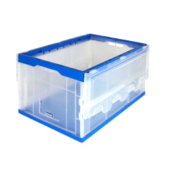 "Mount-It! Collapsible Plastic Storage Crate With Lid, 65 Liters, 15.25"" x 23"" x 13"", Clear/Blue"