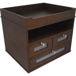 "Victor Heritage Wood H5500 Tidy Tower Organizer - 3 Compartment(s) - 3 Drawer(s) - 10.8"" Height x 12.3"" Width x 10.8"" Depth - Faux Leather, Frosted Glass, Brushed Metal, Wood - 1Each"