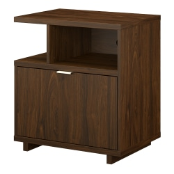 "kathy ireland® Home by Bush Furniture Madison Avenue 28""W Lateral 1-Drawer File Cabinet With Shelves, Modern Walnut, Standard Delivery"