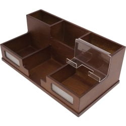 "Victor Heritage Wood H9525 Desk Organizer - 6 Compartment(s) - 5.5"" Height x 10.4"" Width x 3.5"" Depth - Desktop - Wood Grain - Wood, Acrylic, Frosted Glass - 1Each"