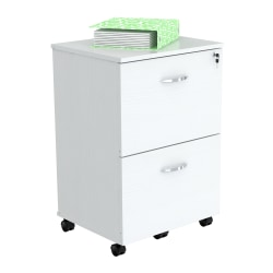 "Inval Uffici 15-13/16""D Vertical 2-Drawer Mobile Locking File Cabinet, Laricina White, Standard Delivery"