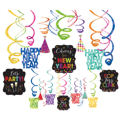 """Amscan New Year's Foil Swirl Decorations, 7"""" x 7"""", Multicolor, 30 Decorations Per Pack, Case Of 2 Packs"""