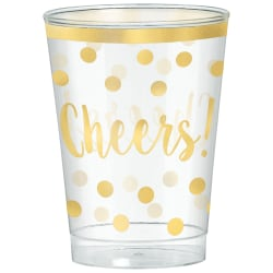 Amscan New Year's Cheers Plastic Tumblers, 10 oz, Clear, 30 Tumblers Per Pack, Case Of 2 Packs
