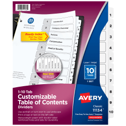 Avery® Ready Index® 20% Recycled Table Of Contents Dividers, 1-10 Tabs, Black/White