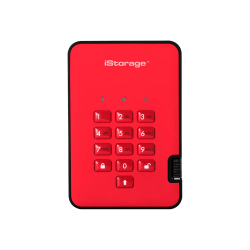 iStorage diskAshur2 2 TB Portable Solid State Drive - External - Fiery Red - TAA Compliant - USB 3.1 - 294 MB/s Maximum Read Transfer Rate - 256-bit Encryption Standard