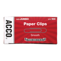 "ACCO® Economy Jumbo Paper Clips, Smooth Finish, 1-3/4"", 20-Sheet Capacity, Silver, 100 Clips Per Box, Pack Of 10 Boxes"