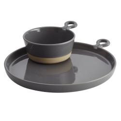Rachael Ray® Cityscapes Ceramic Soup and Sammie Set, Dark Sea Salt Gray