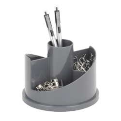 """Realspace® 6-Compartment Rotary Desk Organizer With Antimicrobial Treatment, 4-5/8""""H x 5-13/16""""W x 5-13/16""""D, Gray"""