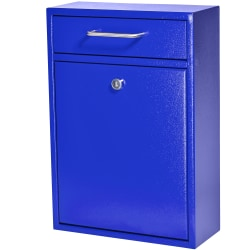 "Mail Boss Locking Security Drop Box, 16-1/4""H x 11-1/4""W x 4-3/4""D, Bright Blue"