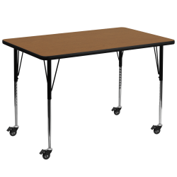 Flash Furniture Mobile 72''W Rectangular Thermal Laminate Activity Table With Standard Height-Adjustable Legs, Oak