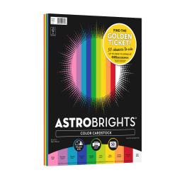 Astrobrights Color Card Stock, Letter Size, 65 Lb, Assorted Colors, 50 Sheets Per Pack