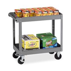 """Tennsco 2-Shelf Service Cart, 32""""H x 16""""W x 30""""D, Medium Gray"""