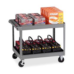 """Tennsco Service Cart, 2 Shelves, 36""""H x 32""""W x 24""""D, Medium Gray"""