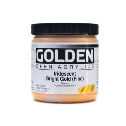 Golden OPEN Acrylic Paint, 8 Oz Jar, Iridescent Gold (Fine)
